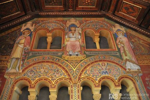 Wall painting in the banqueting hall of the Wartburg, Eisenach, Germany