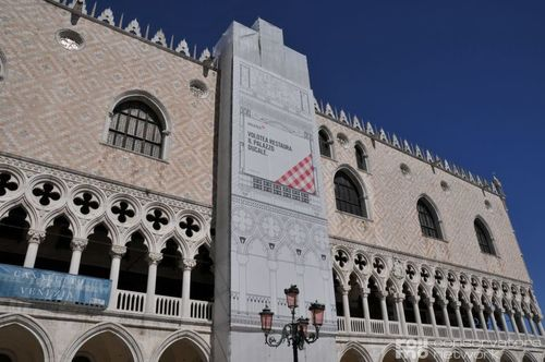 Restoration at the Doge's Palace in Venice, Italy