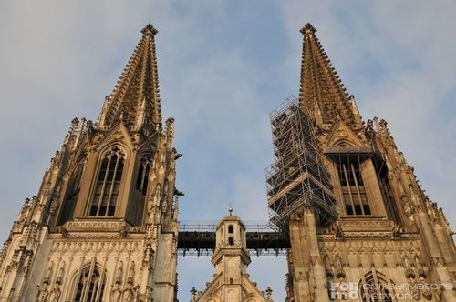 Stone restoration of the cathedral towers in Regensburg, Germany